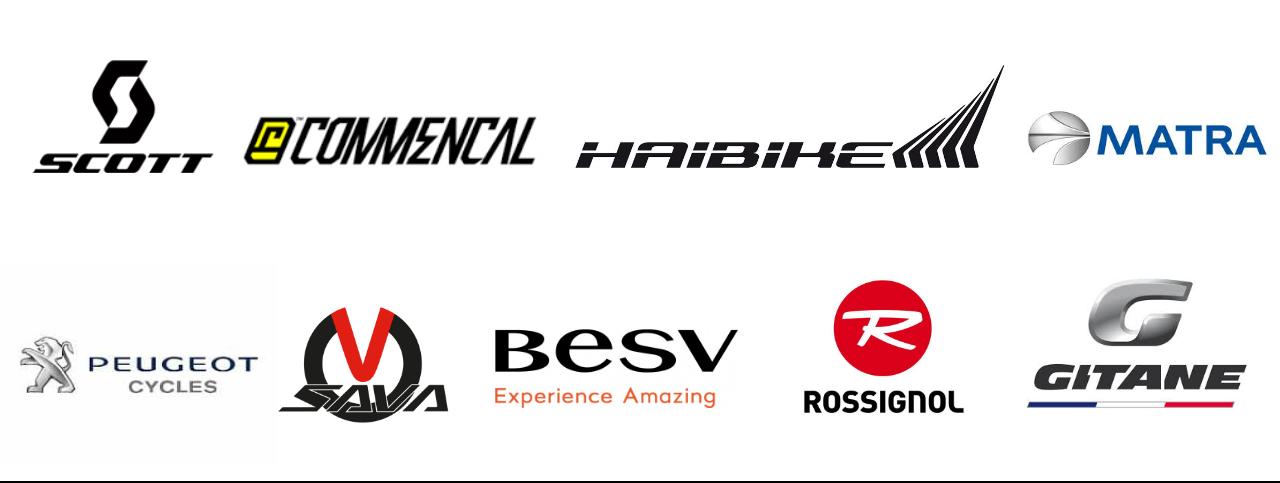 Logos de marques proposant des VTT électriques